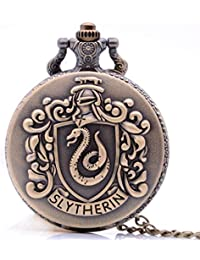 Antique Mens Pocket Watch,Cartoon Pocket Watch, Movie Pocket Watches for Kids, Christmas Birthday Gifts for Boys Girls (Bronze Slytherin)