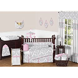 Sweet Jojo Designs Pink, Gray and White Elizabeth Baby Girl Bedding 9pc Crib Set