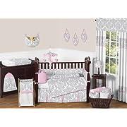 Sweet Jojo Designs 9-Piece Pink, Gray and White Elizabeth Baby Girl Bedding Crib Set