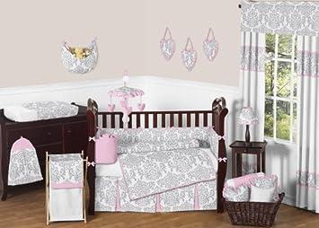 sweet jojo designs 9 piece pink gray and white elizabeth baby girl bedding crib - Baby Girl Bedding
