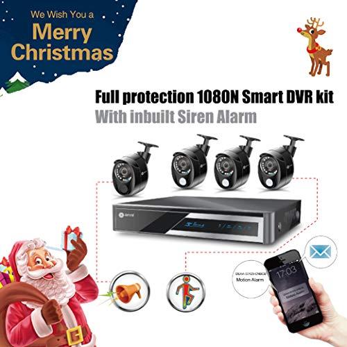 Anni 1080N HD Home Security Camera System CCTV Wired Surveillance DVR Kit, 4-Channel 1080N Digital Video Recorder, 4 x 1080p Cameras: 3 x PIR Sensor Camera, 1 x Siren Alarm Camera
