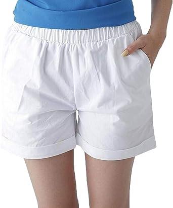 GRMO Pantalones Cortos de Cintura elásticos de algodón para Mujer, Talla Grande, Color Puro, Pierna Ancha - Blanco - XS: Amazon.es: Ropa y accesorios