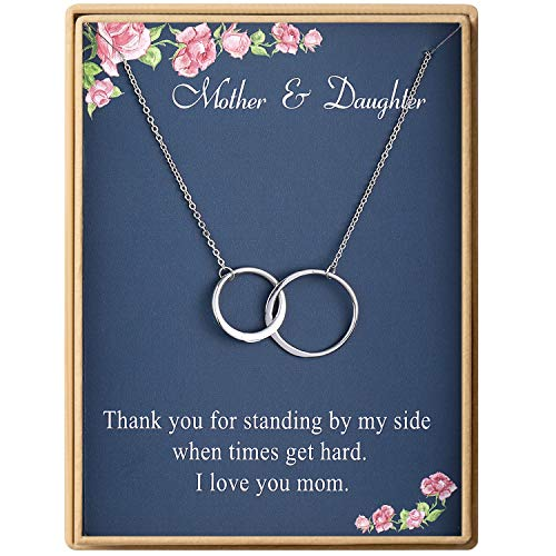Mother Daughter Necklace Sterling Silver Two Interlocking Infinity Double 2 Circles Pendants Necklace Mothers Day Jewelry Birthday Gifts Mom for Women