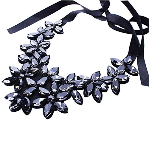 Flower Ribbon Chain Short Necklace Pendant Crystal Choker Chunky Collar by - Costume Jewelry Hematite Necklace Set