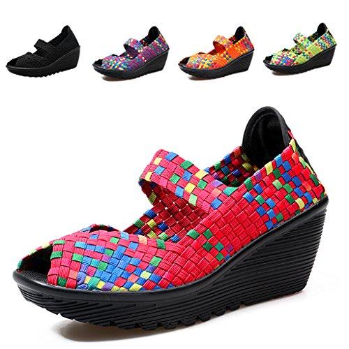 Laiwodun Damen Hoher Absatz Plattform Sandalen Sommer Atmungsaktiv Beiläufig Gewebte Schuhe Frauen Elastisch Trainer Komfort Schlüpfen Wasserschuh Rot