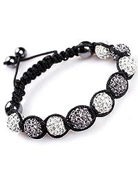 GEM-inside 9 Beads Women Girl 10mm Pave Shine Swarovski Crystal Ball Hand-Woven Bracelet Adjustable