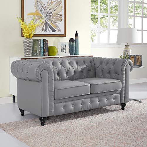 Naomi Home Emery Chesterfield Love Seat Gray