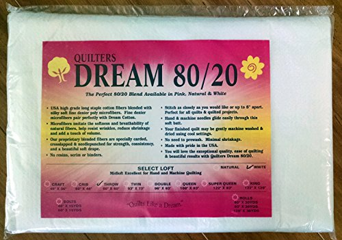 Quilter's Dream 80/20, White, Select Loft Batting - Throw Size (20 Cotton Batting)