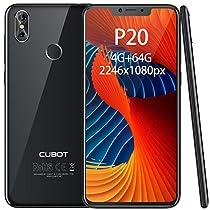"""CUBOT P20 Smartphone 6.18"""" FHD, 2246×1080, 4GB+ 64GB, Octa-Core, Batteria 4000mAh, Fotocamera 20MP + 2MP / 13MP, Octa-Core, 0.1s Sensore di impronte, 4G Cellulare, Nero [CUBOT OFFICIALE]"""