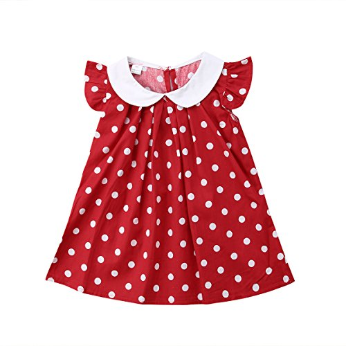 Baby Girls Kids Sleeveless White Collar Polka Dots A-line Blouse Top Mini Dress (2-3 Years, Red)
