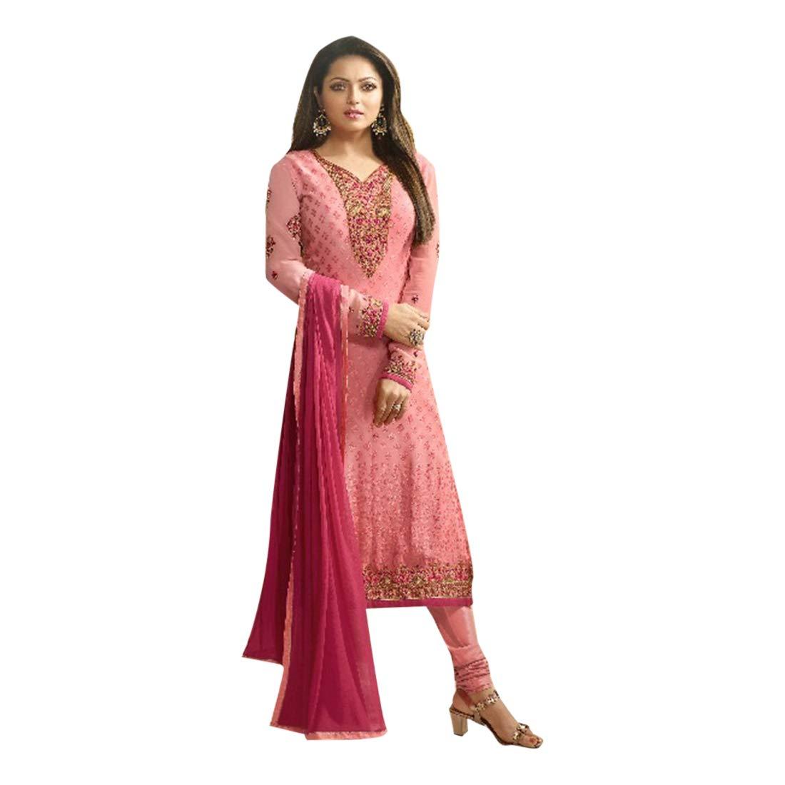 Pink Ethnic Brasso Santoon Heavy Embroidery Straight Salwar Kameez Bollywood Designer Indian Muslim 7263