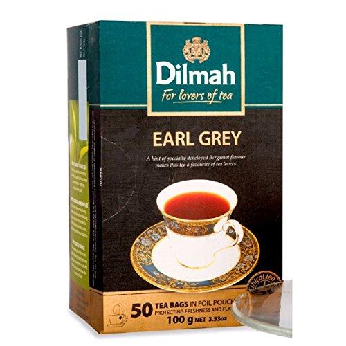Dilmah Earl Grey Tea, Ceylon Supreme Tea, English Breakfast Tea, English Afternoon Tea - 50 Tea Bags 100g (3.53 oz) - Finest Pure Ceylon Black Tea Box (Earl Grey)