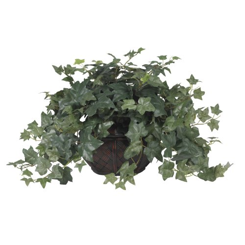 Nearly Natural 6635 Puff Ivy with Vase Decorative Silk Plant, Green