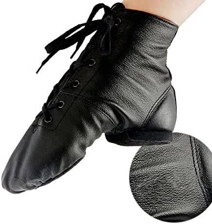 Women's Leather Soft Soles Flat Dance Shoes Jazz Boots Leather Practice Dance Shoes