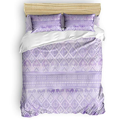 Romance House Duvet Cover Set Twin Size, 4 Piece Tribal Geo Watercolor Art Bedding Set - 1 Quilt Cover 1 Bedspread 2 Pillow Cases for Childrens/Kids/Teens/Adults, Purple ()