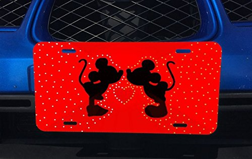 Cute Two Mice Silhouettes Heart Red Design Print Image Aluminum License Plate for Car Truck Vehicles