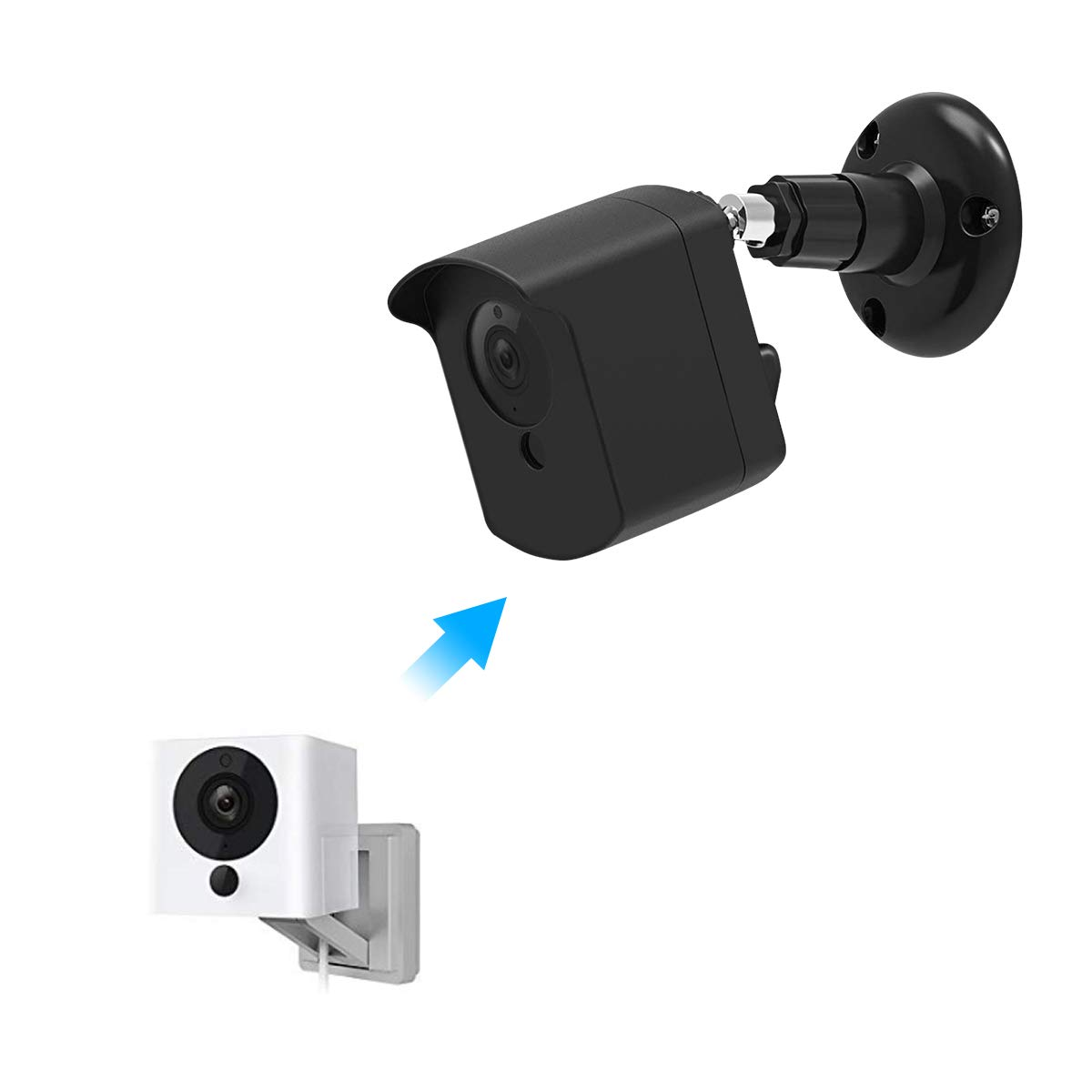Mrount Wyze Camera Wall Mount Bracket, Protective Cover with Security Wall Mount for Wyze Cam V2 V1 and Ismart Spot Camera Indoor Outdoor Use by (Black, 1 Pack) by Mrount