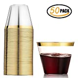 50 Gold Plastic Cups ~ 9 oz Clear Plastic Cups Old Fashioned Tumblers ~ Gold Rimmed Cups Fancy Disposable Cups Reusable Cups for Parties Weddings Graduation Birthday
