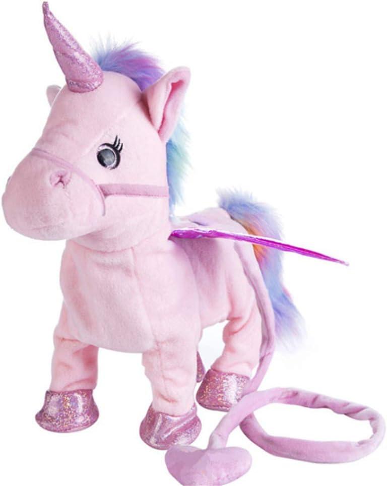 Yeying123 Peluche Caminar Unicornio Felpa Juguete Animales de Peluche Pony Animales Lindos Mascotas Caballo Felpa eléctrica Juguetes Musicales para niños niñas niños pequeños