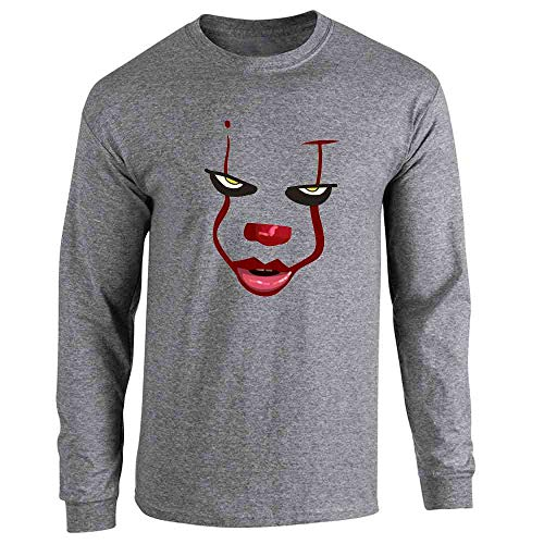 Pop Threads Clown Face Horror Scary Movie Halloween Costume Graphite Heather S Full Long Sleeve Tee ()