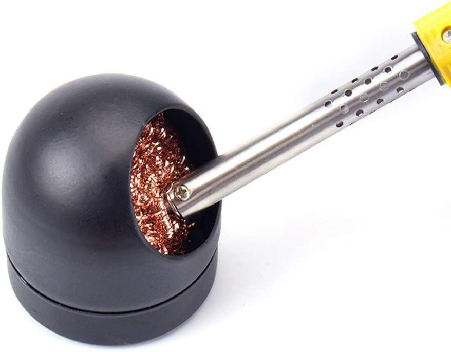 Lezed Nettoyant pour Pointes de fer /à Souder Fil de Nettoyage pour Panne de Soudure Fil de bille en Laiton Avec Support de Douille de Bille 3 balles de nettoyage pour pointe de soudure 1 base noir