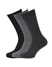 Mens Wool Blend Socks With Wool Padded Sole (Pack Of 3)