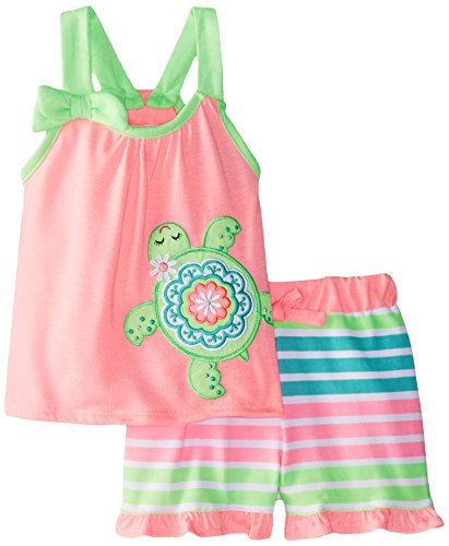 Rare Editions Baby Baby Girls' Turtle Applique Short Set, Pink, 12 Months