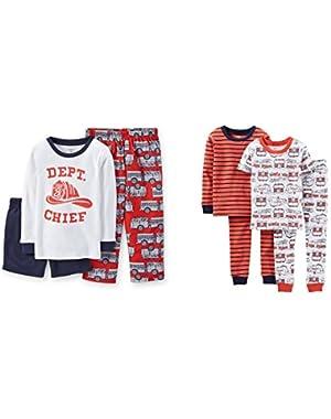 Carter's Baby Boys Fire Chief Engine Firetruck Striped Pajama Set-7 Pcs