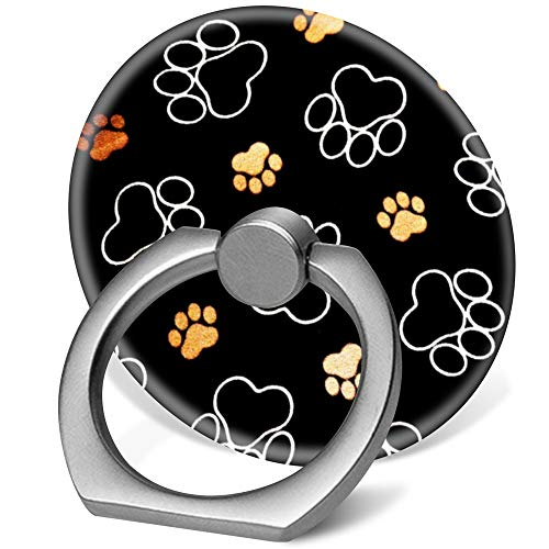 360 Degree Finger Stand Cell Phone Ring Holder Car Mount with Hook for Smartphone-Dog Puppy paw Prints Gifts Black and Gold Lumbar