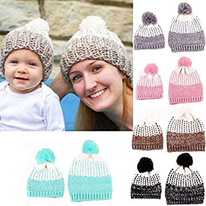 aa3d303d906 Buy Generic Sky Blue   Mom And Baby Knitting Keep Warm Hat Sets Family  Matching Outfits Woman Winter hat baby bonnet gorros bebe invierno Krystal  Online at ...