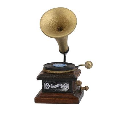 NATFUR 1/12 Miniature Phonograph Record Player Dollhouse Musical Instrument Decor: Home & Kitchen