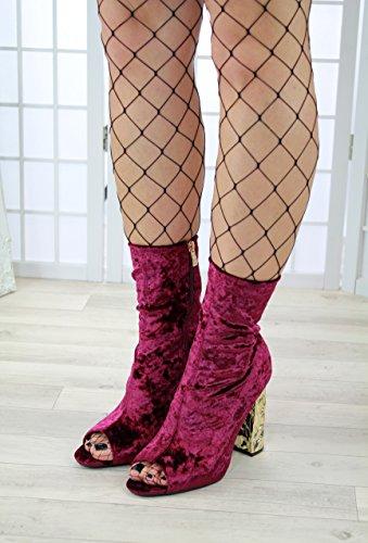 High Vino Rosso Chunky Block Fashion Ladies Toe Zip New Heel Larena Womens Stivaletti Casual Scarpe Peep 608fZ