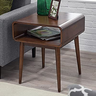 Belham Living Carter Mid Century Modern Side Table - Overall dimensions: 20W x 20D x 24H in. Interior cubby dimensions: 18.25W x 19.7D x 6H in. Solid poplar legs with birch veneer. Walnut finish - living-room-furniture, living-room, end-tables - 510bZSI6FUL. SS400  -