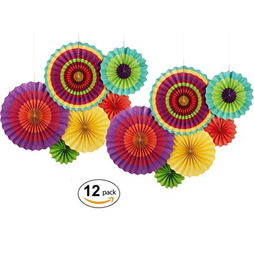 MOWO Hanging Paper Fan Set for Wedding/ Christmas Decoration, Home Decor Supplies Flavor(Assorted Color, 12 (Wedding Theme Colors)