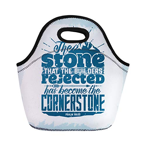 Semtomn Lunch Tote Bag Bible Lettering Christian the Stone That Builders Rejected Has Reusable Neoprene Insulated Thermal Outdoor Picnic Lunchbox for Men Women