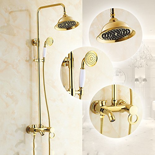 on sale SAEKJJ-European Copper Antique Gold Hot And Cold Bathing Shower Set Shower Bathroom faucet