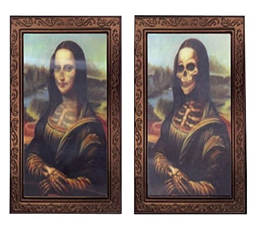 (Elaine Room 3D Photo Frame Horror Ghost Lenticular Morphing Changing Moving Face Zombie Vampire Theme Halloween Party Home Wall Picture Haunted Spooky Black (A))