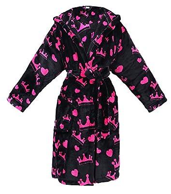 Women's Hooded Printed Flannel Fleece Bathrobe w/ Side Pockets-Assorted Patterns