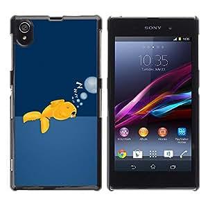 Caucho caso de Shell duro de la cubierta de accesorios de protección BY RAYDREAMMM - Sony Xperia Z1 L39 C6902 C6903 C6906 C6916 C6943 - Gold Fish Wild Free Ocean Swim Bubbles Art