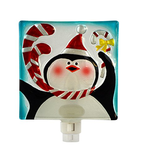 - Holiday Penguin 5 x 6 Inch Glass Wall Plug-in Christmas Night Light