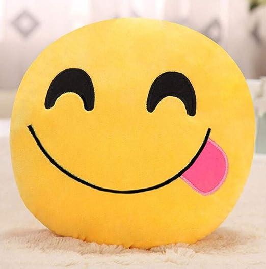 Cojín de Juguete de Emoticon Suave y Redondo de Almohada de Peluche Emoji Divertido Amarillo - Glotón