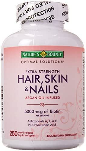 Nature's Bounty Hair Skin and Nails 5000 mcg of Biotin - (Extra Strength, One Bottle of 250 Softgels) by Nature's Bounty