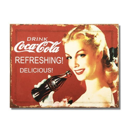 Adeco Decorative Wood Wall Hanging Sign Plaque Drink Coca-Cola Red, White, Home Decor