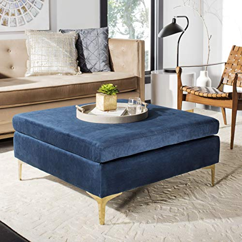 Safavieh BCH6301A Home Collection Giovanna Square Bench, Navy/Brass ()