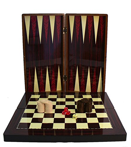 High Gloss Wood Grain Folding Backgammon Set with Chessboard by World Wise Imports (Folding Wood Backgammon Set)
