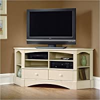 Pemberly Row Corner Entertainment Credenza in Antiqued White