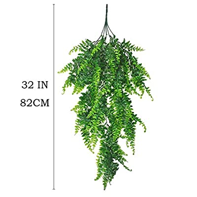 Artificial Plants Greenery Boston Fern Persian Rattan Fake Hanging Plant Ivy Vine Outdoor UV Resistant Plastic Plants Vines Safari Jungle Party
