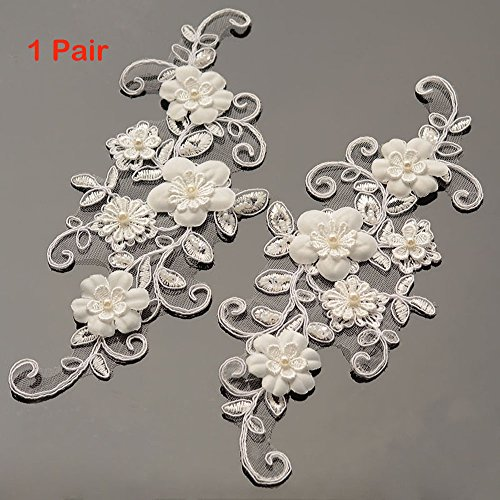 (One Pair Beaded Appliques Lace Trims 3D Floral Embroidery Lace Trims for Bridal Accessories Supply)