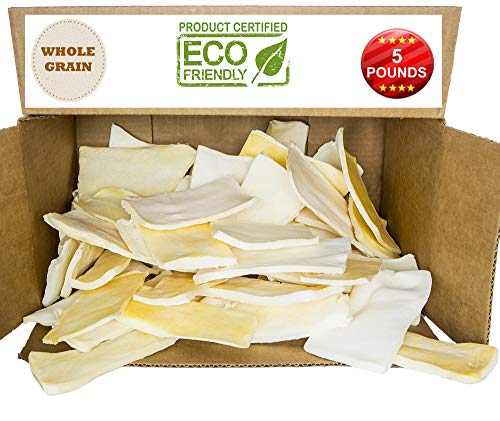 Premium Thick Cut Chips, Wholegrain Rawhide (Last Much Longer Than Traditional Chips). 100% Natural. The Best Behavioral Dog Chewing Treat Solution. No preservatives. (5 POUNDS)