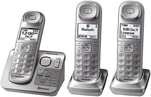 Panasonic KX-TGL463S Dect 6.0 link2Cell Bluetooth 3-Handset Landline Telephone, Silver & White (Renewed) ()